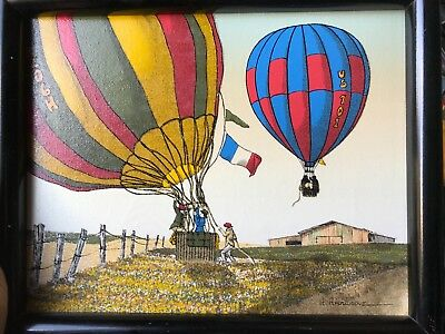 H HARGROVE Serigraph HOT AIR BALLOONS 8x10 Registered Canvas Framed