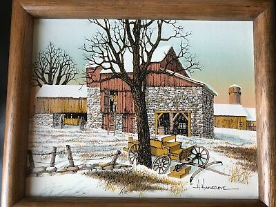 H HARGROVE Serigraph Winter Barn and Carriage Scene 8x10 Canvas Framed