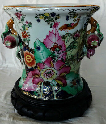 """Chinese Antique Unique Heavy Porcelain Oval Vase 6.5"""" with Original Fitted"""