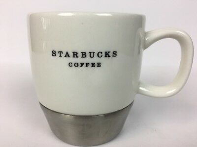 Starbucks Coffee Cup White Porcelain Metal Steel Mug Vintage 2006 10 Oz RARE 👀
