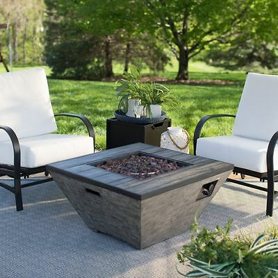 Outdoor Fire Pit Table Propane Gas  Square Gray Finish 50,000 BTU Patio Backyard