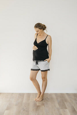 NEW drawstring short in grey marle Maternity