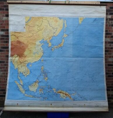 Huge Vintage Army Map Service East Asia North Pacific mid century relief rare