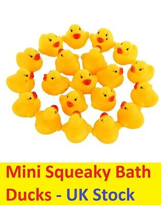 Mini Yellow Bathtime Rubber Duck Ducks Bath Toy Squeaky Water Play Kids Toddlers