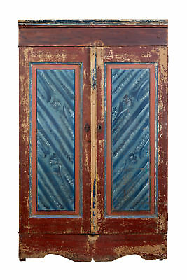 Late 18Th Century Traditional Rustic Painted Swedish Pine Cupboard