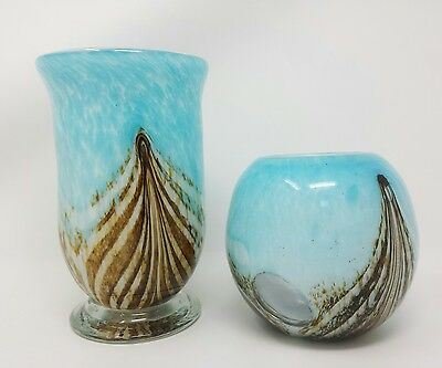 HQT Handmade Glassware Pair of 2 Gorgeous Vases Multicolor Swirl Design