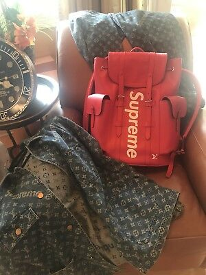 3d17bcdb8f6 LOUIS VUITTON x SUPREME 100% AUTHENTIC LV BACKPACK CHRISTOPHER PM BAG EPI  RED