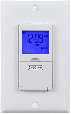 Century 7 Day Programmable In-Wall Timer Switch Digital with Blue Light, 3 way