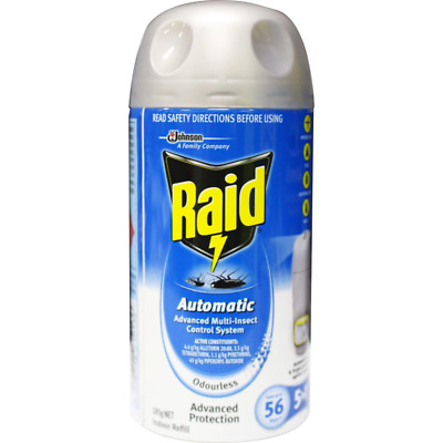 6 x RAID 185g AUTOMATIC ADVANCED MULTI-INSECT CONTROL SYSTEM INDOOR REFILL ODOUR