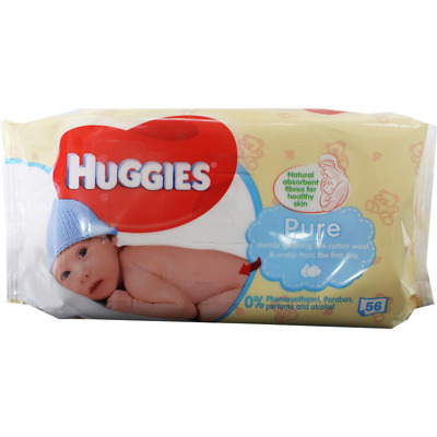 10 x HUGGIES PK56 BABY WIPES PURE UNSCENTED STICKY TOP