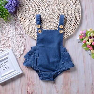 Newborn Infant Baby Girl Jumpsuit Bodysuit Denim Romper Outfits Sunsuit 0-24M