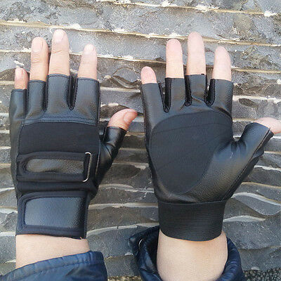 Men's PU Leather Driving Motorcycle Biker Fingerless Gloves Outdoor Sports A+