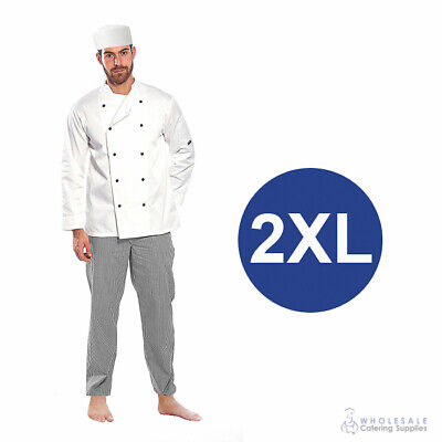 Chef Student Uniform Kit Long Sleeve Coat White Hospitality Cook Kitchen 2XL