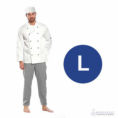 Chef Student Uniform Kit Long Sleeve Coat White Hospitality Cook Kitchen Large