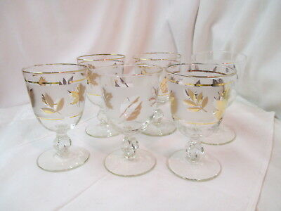 Vintage Libbey Rock Sharpe set 6 footed Water Glasses frosted gold trim Leaves