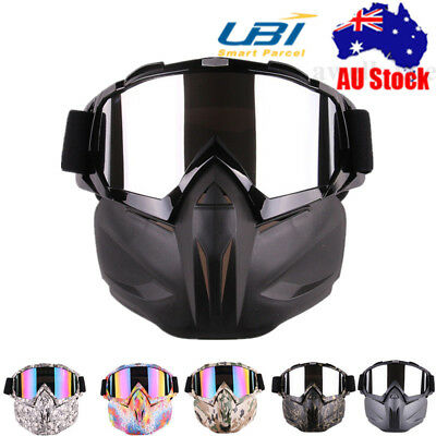 Detachable Modular Motorcycle Bike Riding Helmet Open Face Mask Shield Goggles