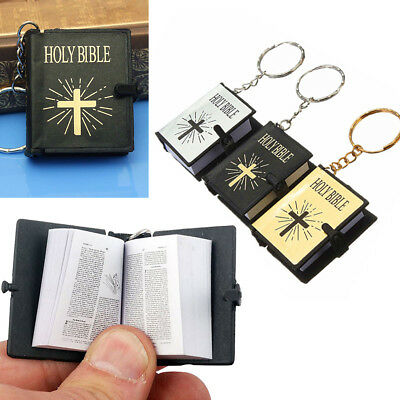 Religious Mini Small Holy Bible Book Keychain Jesus Cross Keyrings Micro Pendant