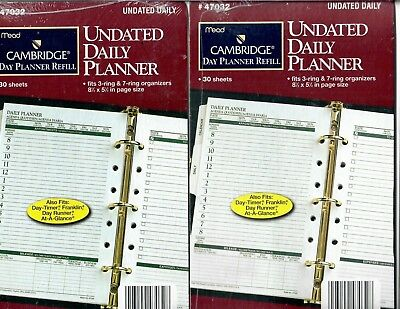 Mead Cambridge Day Planner Refill Undated Daily Planner 47032 8.5 x 5.5 Lot of 2