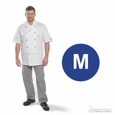 Chef Student Uniform Kit Short Sleeve Coat White With Shoes Cook Kitchen Medium