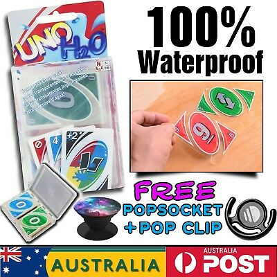 Classic UNO H2o Cards Waterproof Family Holiday Poker Board Game Free Popsocket