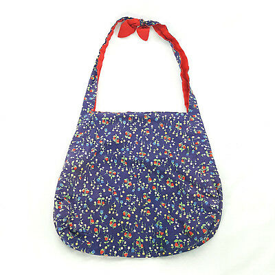 Vintage Hand made Shoulder Bag Tote Reversible Strawberry Print & Red Fabric