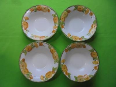 Lot of 4 Metlox Poppy Trail Sculptured Zinnia Cereal Bowls 7-3/8""