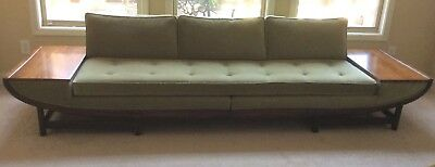 Mid Century Modern Sofa Built In Tables 60u0027s Tufted Gondola Style