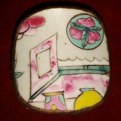 Vintage Chinese Hand Tooled Shard Box, Jewelry Box, Porcelain Pretty Pastel NO.4