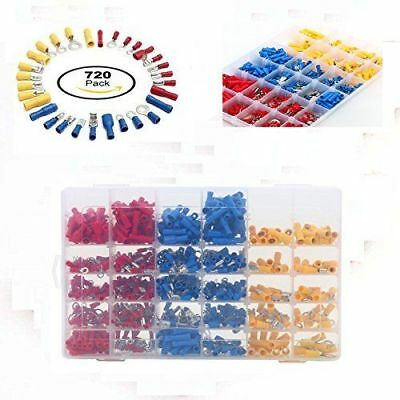 720pcs Assorted Crimp Terminal Insulated Electrical Wire Connector Set Case BP