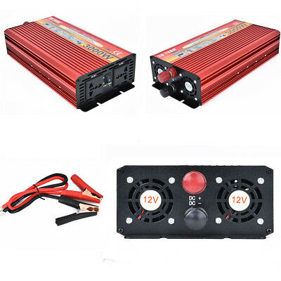 3000W Power Inverter Electronic Car Converter Charger DC12V AC110V USB +2 Cables
