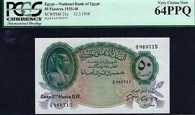 Egypt 50 Piastres P21a signed Cook 1938 PCGS graded 64 PPQ Very Choice New Unc