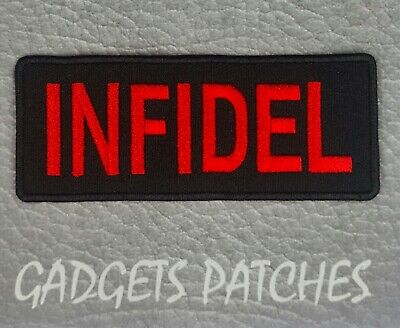 New Infidel Red On Black Harley Biker Patch Iron / Sew On