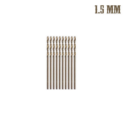 10Pcs 1.5mm M35 Round Shank HSS-Co Cobalt Twist Drill Spiral Drill Bit