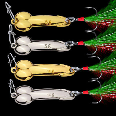 1pc Spoon Fishing Lure 5g-20g with Feather Hooks Gold/Silver Metal Bait Tackle