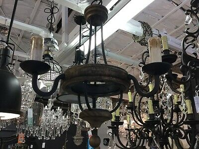 Wood Timber 3 Light French Chandelier New Modern Lounge Room Entrance Iron