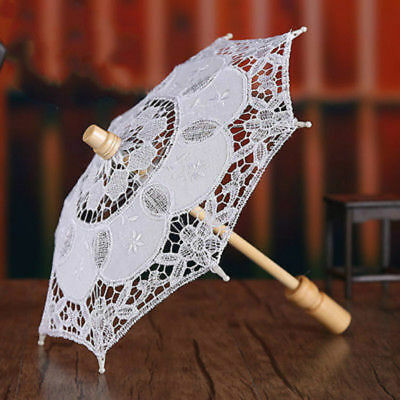 Lace Embroidered Umbrella Wedding Party Bridal Flower Parasol Handmade White