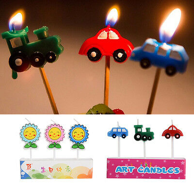 3pcs Cute Cartoon Candle Birthday Kids Craft Party Topper Cake Decor Candles Hot