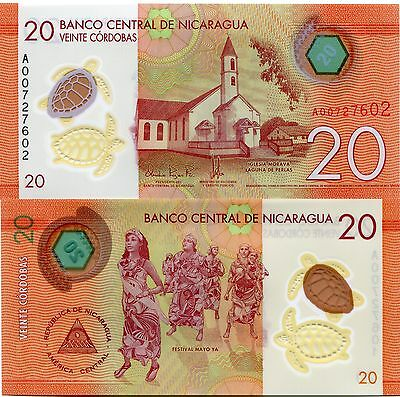 Nicaragua 2014 (2015) P209 Polymer 20 Cordobas Banknote Money UNC X 10 Notes
