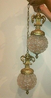Vintage Hollywood Regency 2 Swag Hanging Crystal Pendents !