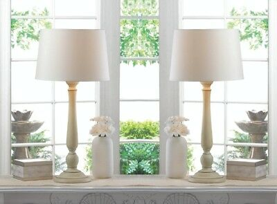 Set of 2 Dover Contemporary Ivory Table Lamps with Matching Shades