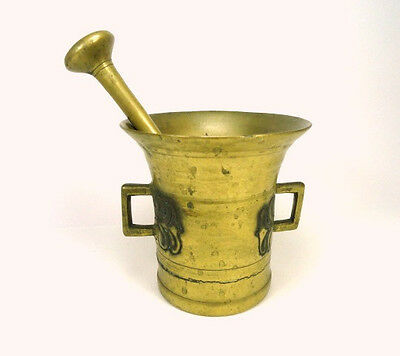 Antique Solid Brass Double Handle Mortar and Pestle (Large) Herb/Spice Grinder
