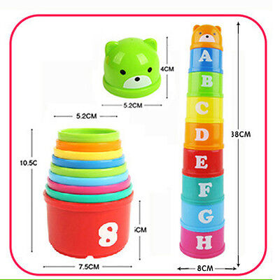 9pcs/Set Baby Children Kids Educational Toy Figures Letters Folding Cup Pagoda