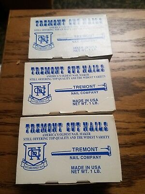 "3lbs TREMONT OLD FASHIONED CUT NAILS  CLINCH 2.5"" 8D,  3.5"" 16D & 4"" 20D"