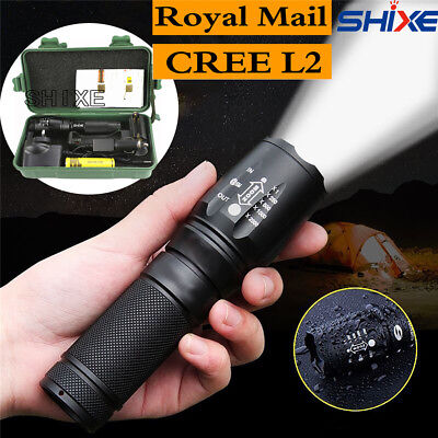 20000LM L2 LED Flashlight Tactical Zoomable Police Torch Lamp AAA 18650 UK