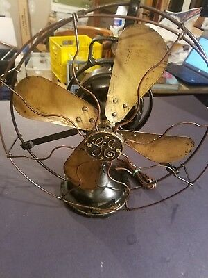 "Oscillating 12"" Inch GE ELECTRIC FAN Loop Handle Brass Blades #75423 WORKS 1920s"