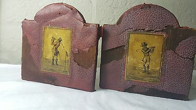 A pair of Georgian early Victorian  golf scene player small woodern bookends