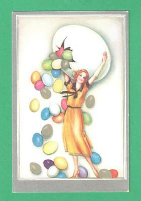 Vintage Art Deco Easter Postcard Beautiful Lady Colored Eggs Hatch From Big Egg!