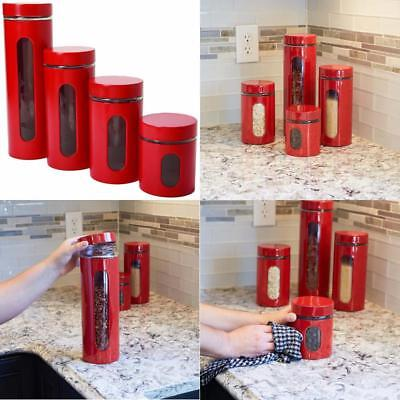 Red Kitchen Canister Set 4 Piece Cylinder Containers Storage