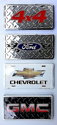 Chevy Ford GMC 4X4 Logos Metal License Plate Auto Tag Car Truck