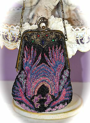 Gorgeous Antique Late 1800s Victorian Brass Beaded PURSE w JEWELED Frame Belgium